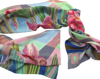 silk scarf Iris. Hand painted silk scarf, batik  Floral scarf Hand painted  flowers silk blue, pink, green. Flowers scarf