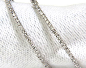 2.50CT Diamonds Hoop Earrings Snap Button Deco 14KT