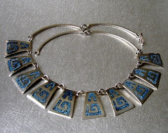 Vintage Alpaca Mexico Jewelry Turquoise Blue Enameled Chip Inlay Necklace Silver Tone Pendant Panel Sections Bib Chic Boho Festival Aztec