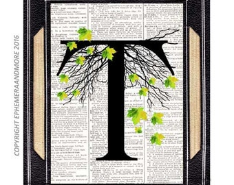 Letter T Initial Monogram art print Alphabet wall decor spring summer autumn leaves tree illustration vintage dictionary book page 5x7, 8x10