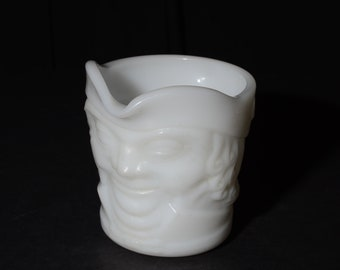 Vintage, Mid-Century 1960s Federal White Milk Glass Heat Proof Colonial Man Toby Face Glass Creamer Mug Paul Revere Quaker Oats Man Kitsch