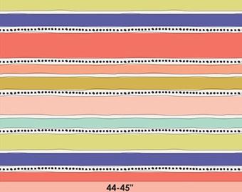 Art Gallery Geometric Bliss Fabric by Jeni Baker - Mobius Stripe Warm - Fabric By the Half Yard