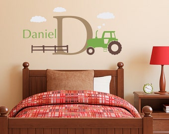 Personalized Tractor Wall Decal Set - Boys Name and Initial Decal - Farm Wall Decal - Medium
