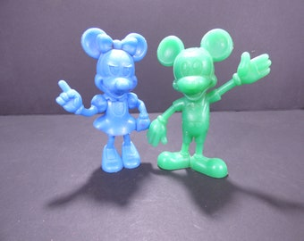 1960's Marx plastic Mickey and Minnie Mouse figures