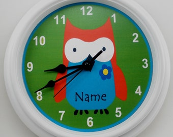 OWL Vibrant GREEN Orange Blue NURSERY Wall Clock
