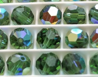 Swarovski 5000 Emerald AB 6mm crystal beads - pack of 24