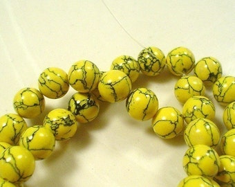 yellow turquoise manmade smooth round beads 10 mm 20 pieces
