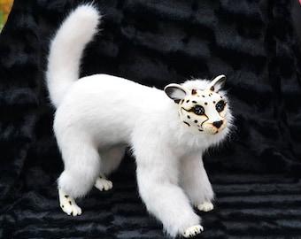 White Cheetah, fashion Art Doll, jointed, animal fur, BJD doll, resin, ocelot cat