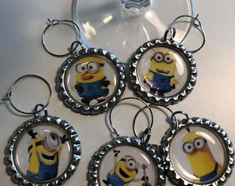 Minions Flattened Bottle Cap Wine Charms, Wine Accessories, Party Favors, Bunco Prize, Stocking Stuffers - Set of 5