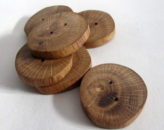 Set of 6 Natural Oak Wood Buttons, Round Brown Wooden Buttons, Rustic Buttons, Eco friendly Sewing Supplies