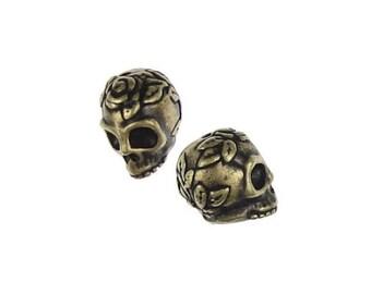 Antique Brass Beads - Sugar Skull Beads - Day of the Dead dia de los Muertos TierraCast Rose Skulls Bronze  (PA17)