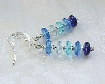Minimalist Earrings Pick 7 Blue Ombre Earrings Space Age Earrings New Modern Cobalt Earrings Czech Glass Earrings Disc Glass Stack Earrings