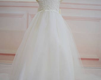 Long Ivory Flower Girl Dress