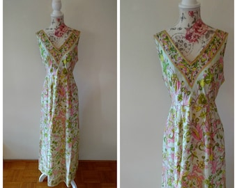 vintage white, green, pink and yellow 1960s maxi dress with floral pattern
