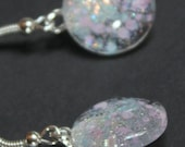 pink blue earrings iridescent glitter nail polish jewelry glass cab earrings sparkly