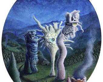 Fine Art Print - The Arboreal Retribution by Ricky Schaede, landscape art, surreal art, psychedelic art, fantasy art, science fiction art