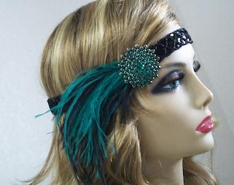 Emerald 1920s headpiece, Flapper headband, Flapper headpiece, Great Gatsby,  1920s hair accessory, Roaring 20s, Vintage inspired