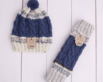 Hand knitted woolen hat and leg warmers for baby girl and baby boy, gift idea.