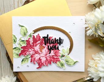 Handmade Thank You Card, Gold Thank You Card, Thanks Card, Flower Thank You Card, 3d Thank You Card, Floral Thank You Card, Flower Thank You