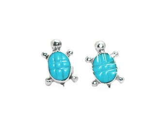 Turquoise Turtle Textured Post Earrings