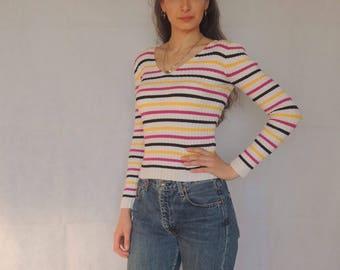 90s Vintage Striped Ribbed Thin Knitted Sweater