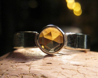 Rose cut gemstone ring sterling silver band