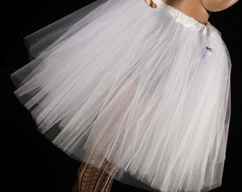 White Ice Tutu Skirt Romance dance knee length Adult wedding bridal petticoat glimmer --You Choose Size - Sisters of the Moon