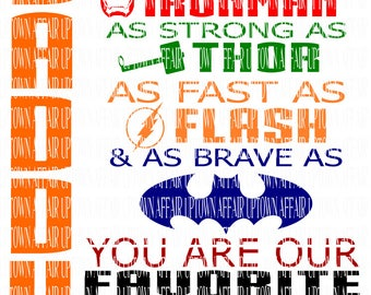 DADDY FAVORITE SUPERHERO Multiple Layers svg/dxf/png