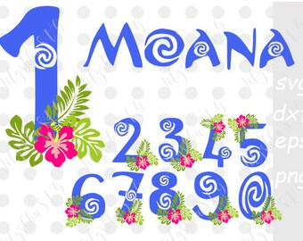 Moana numbers SVG, moana svg, moana font svg, cartoon svg, Disney inspired svg, birthday girl, for cutting machines, DXF, EPS, Cricut files