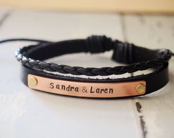 Customized leather bracelet, custom couples bracelets custom bracelet cuff bracelet, leather bracelet, personalized anniversary gift couples