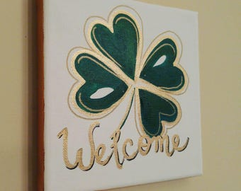 Lucky Four Leaf Clover 6x6 painting