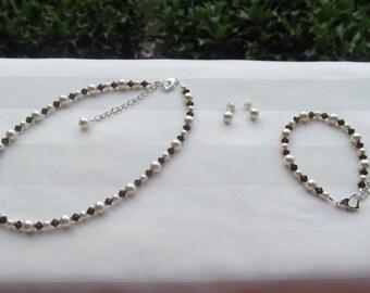 Chocolate Brown Flower Girl Jewelry Ivory Swarovski Pearls and Mocha Crystals Bridal Jewelry Set