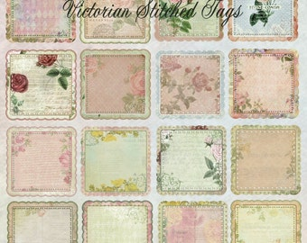 Victorian Stitched Tags - Digital Scrapbook Clipart Graphics Tags