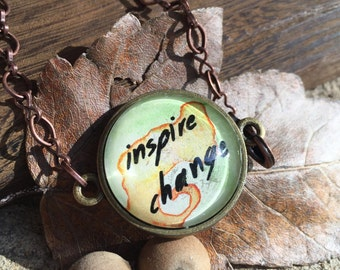 Inspire Change Mantra Bracelet Inspirational Watercolor Jewelry