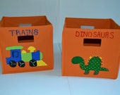 Attractive Kids Fabric Storage Bins, 10.5 By 10.5, Dinosaurs, Trains, Cars, Trucks,  Puzzles, Music Great Ideas