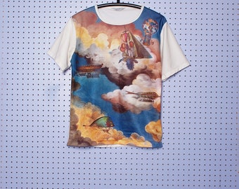 Vintage 70s Polyester Photo Print T-shirt Early Flying machines painting