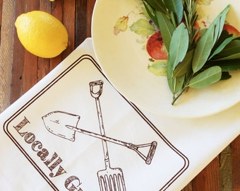 Flour Sack Tea Towel - Screen Print - Kitchen Towel - Organic Cotton - Dish Cloth - Locally Grown