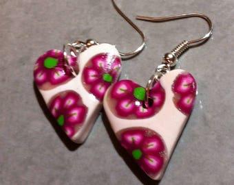 Necklace pink cane heart shape