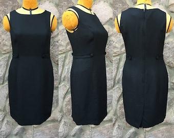 Vintage 90s Sheri Martin NY Petites Fly Girl Little Black Dress / Sleeveless Midi Sheath / Made in the USA / Women's Size 10 / Medium