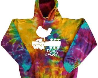 Tie Dye Hoodie Sweatshirt peace and music guitar