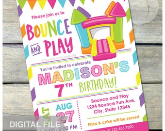 """Bounce House Pink Birthday Invitation Bounce and Play Bouncy House Inflatable Jump Party - DIGITAL Printable Invite - 5"""" x 7"""""""