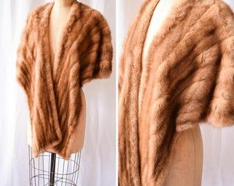 Madeline | Vintage 1950's Fur Stole Honey Brown Mink Evening Cape Satin Jacquard Lining Interior Pockets Jordan Marsh Boston 50s Glamour
