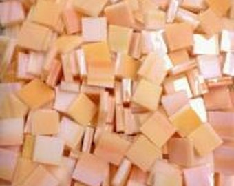 100 Mosaic Tiles 3/8 inch CREAMSICLE ORANGE Opal Stained Glass Mosaic C6