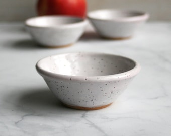 Prep Bowls - Set of Three White Speckled Stoneware Bowls, Small White Kitchen Bowls Handmade Pottery Dipping Bowls