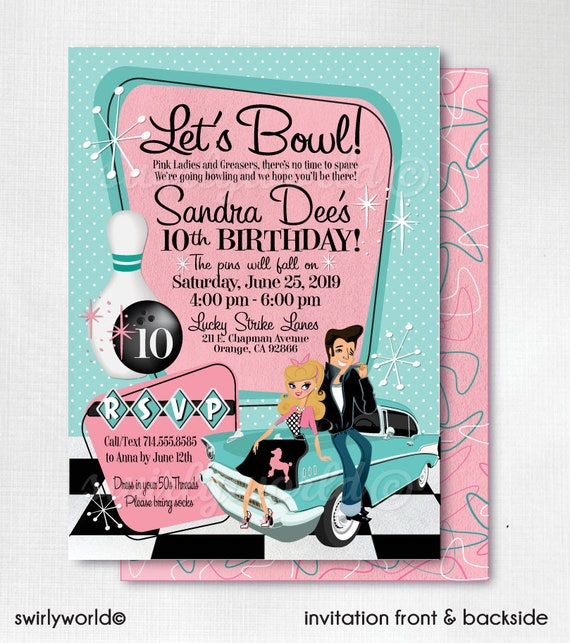 Grease pink ladies bowling party 50s rockabilly invites stopboris Gallery