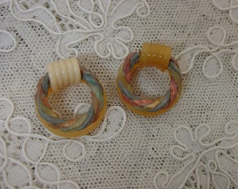 Vintage Antique Celluloid Buttons, 2 Unusual Braided Metal Trim 1""