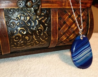 Blue Striped Agate Pendan