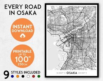 Osaka map print, Printable Osaka map art, Osaka print, Japan map print, Osaka art, Osaka poster, Osaka wall art, Osaka gift, Map of Osaka
