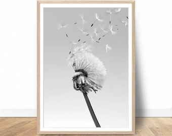 Dandelion Poster, Dandelion Wall Art, Nature Prints, Printable Art, Nature Photography, Photography Prints, Digital Download, Wall Art Print