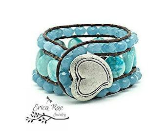 leather wrap bracelet, beaded wrap bracelet, leather gemstone leather wrap bracelet, jade bracelet, blue jasper bracelet